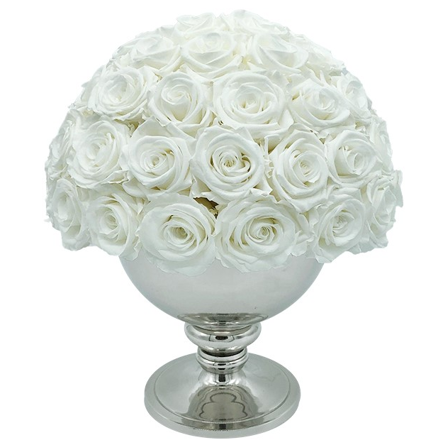 The rose dome is set in a nickel plated vase and makes the ultimate flower arrangement centerpiece and a great gift to leave a long lasting impression
