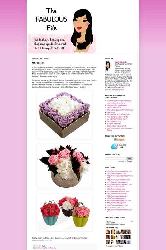 Heinau Flowers featured on thefabulousfile.com