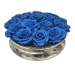 Heinau Mercury Rose Bowl Blue Roses
