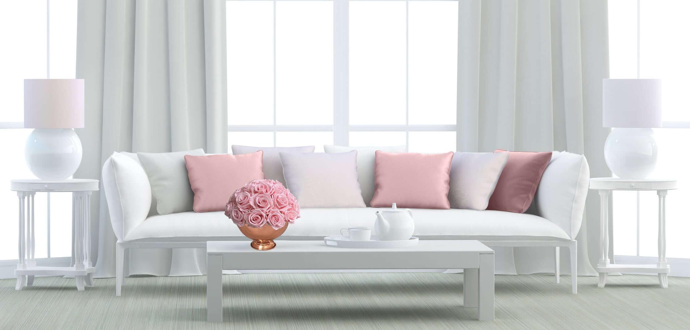 Heinau Pink Flowers Arrangement on Table Interior