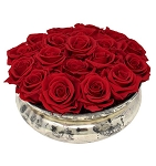 Heinau Mercury Rose Bowl Red Roses