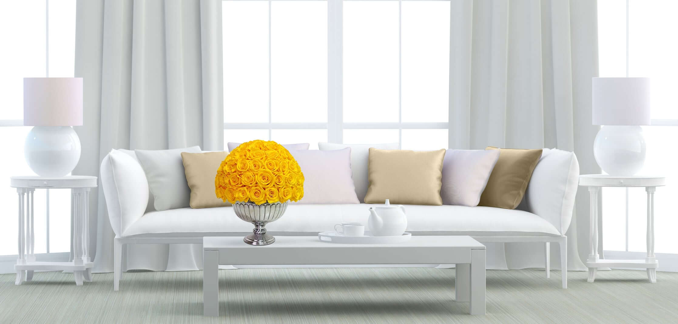 Heinau Yellow Roses Floral Arrangement on Table Interior