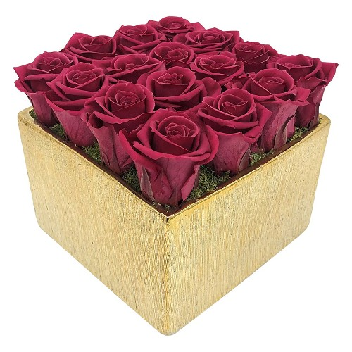 Elegant Sixteen Gold | 16 Roses Flower Arrangement