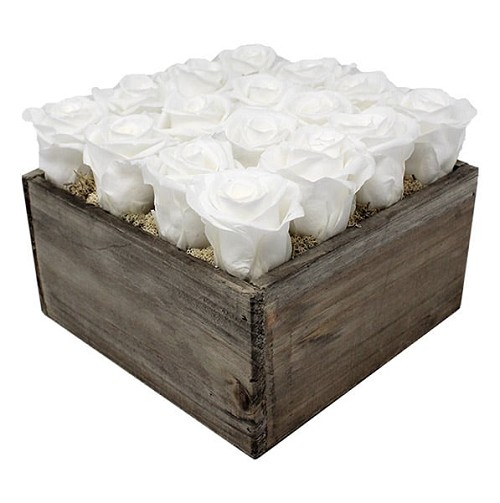 RoseBox - Wood | 16 Roses Flower Arrangement